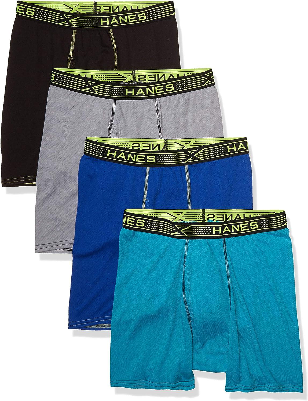 Hanes Ultimate Men's Sport X-Temp Breathable Mesh Boxer Brief 4-Pack