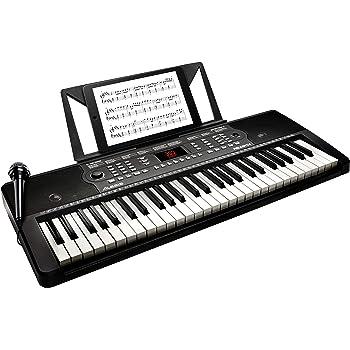 【Amazon限定ブランド】888M Alesis 電子キーボード 54鍵盤【オンライン無料レッスン付属、内蔵スピーカー、マイク、譜面台、電源[付属ACアダプター又は電池駆動]、300音色/300内蔵リズム/40デモソング】Melody 54