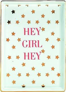 """صينية السيراميك """"Hey Girl Hey"""" من Graphicque مقاس 17.78 سم × 1.90 سم، طبق تخزين أنيق مع تفاصيل رقائق ذهبية، رائعة لتخزين ا..."""