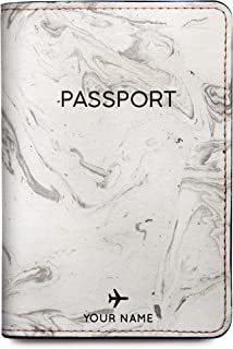 Personalized RFID Leather Passport Holder Cover - Travel Wallet - Marble