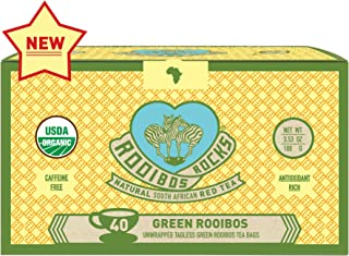 Green Rooibos Tea Organic Teabags - 40 Non GMO Naturally Caffeine Free South African Green Unoxidized Red Bush Tagless Herbal Tea Bags by Rooibos Rocks: Rooibos Teas, Taste of Africa Feel the Goodness