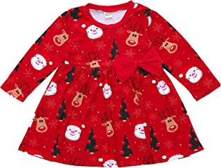 Toddler Baby Girls Christmas Top Dress Santa Claus Reindeer Printed A Line Red Bowknot Dress Long Sleeve Frock 0-5Years