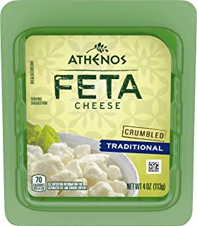 Athenos Feta Cheese Crumbles, Traditional Feta Cheese, 4 oz Blister Packed