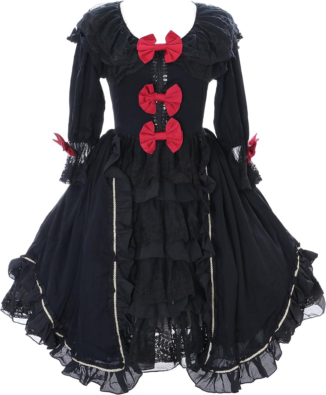 hermoso Kawaii-Story Kawaii-Story Kawaii-Story JL de 645 1Negro Volantes Gasa Vestido rococó Victorian gótico Lolita CosJugar  bajo precio del 40%