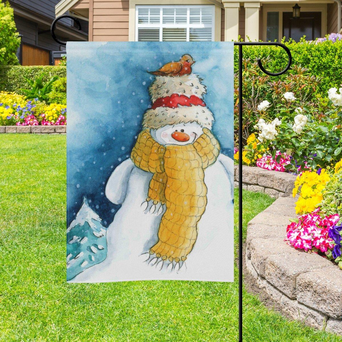 Doble cara invierno Lovely muñeco de nieve y Chickadee pájaro poliéster casa jardín bandera Banner 12 x 18/28 x 40 pulgadas para todo tipo de clima para boda fiesta: Amazon.es: Jardín