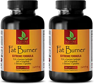 Weight management menopause - FAT BURNER - EXTREME FORMULA 2645Mg - Garcinia cambogia weight loss - 2 Bottle (180 Capsules)