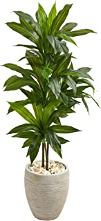 Nearly Natural Dracaena Artificial Plant in Sand Colored Planter, 4'