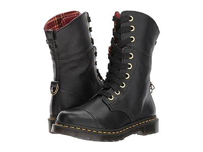 Dr. Martens Aimilita 9-Eye Toe Cap Boot (Black Aunt Sally/DMS Tartan Cherry Red Wool) Women