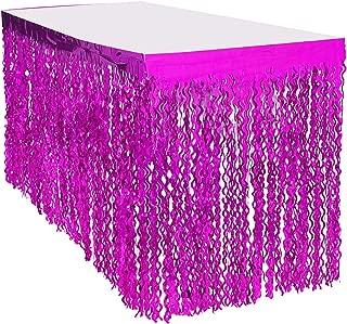 Leegleri Plastic Metallic Foil Fringe Table Skirt Tinsel Curly Willow Party Table Skirt Banner for Mardi Gras Party (Wavy Purple, 2 PACK)