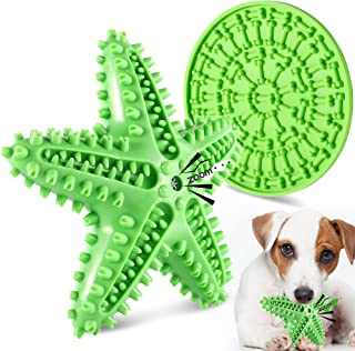 FiGoal Dog Chew Toy Starfish with Sound and Snack Pad (Green) Toy with Sound and Snack Pad Interactive Dog Toys Indestruct...
