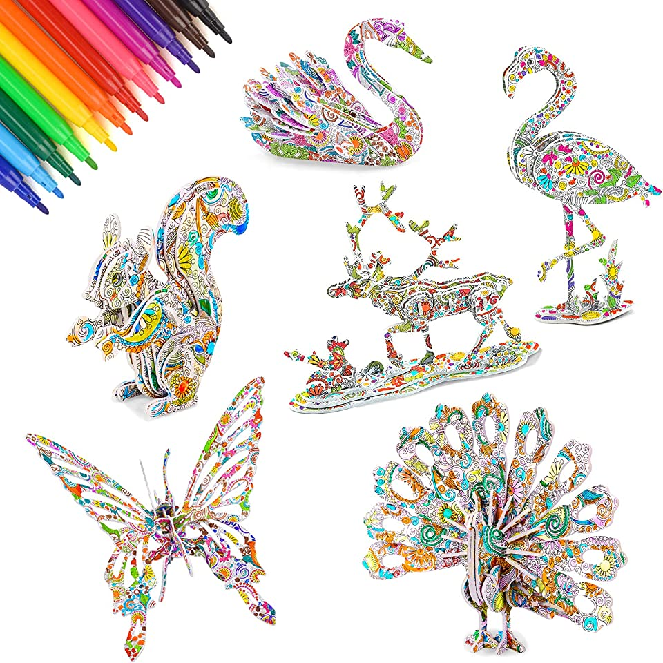 CITSKY 3D-Farbpuzzle-Kunst- und Bastelset, 3D-Malpuzzlespiel für Mädchen und Jungen - Perfektes Spielzeug für Kinder