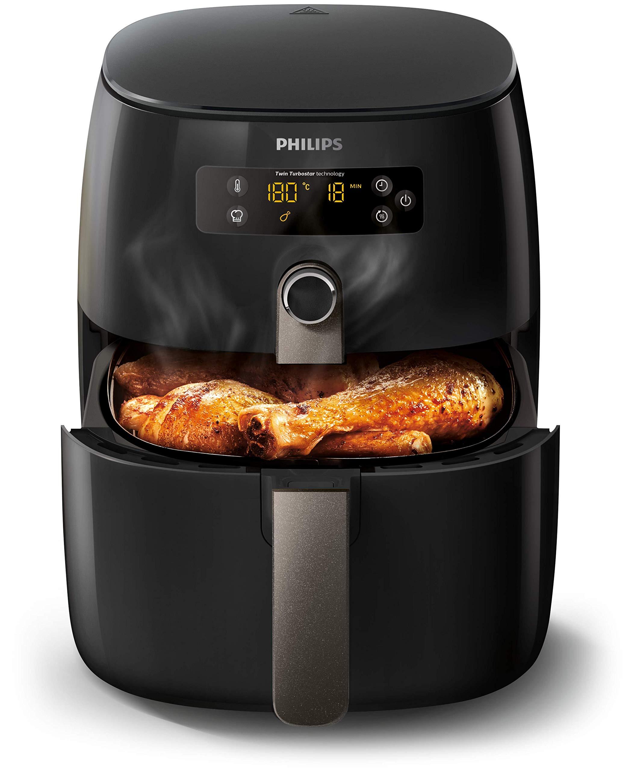 Philips HD9741/10 Airfryer sıcak hava fritözü (1425 W, yağsız, 0,8 kg, 2-3  kişi için, dijital ekran) siyah: Amazon.com.tr