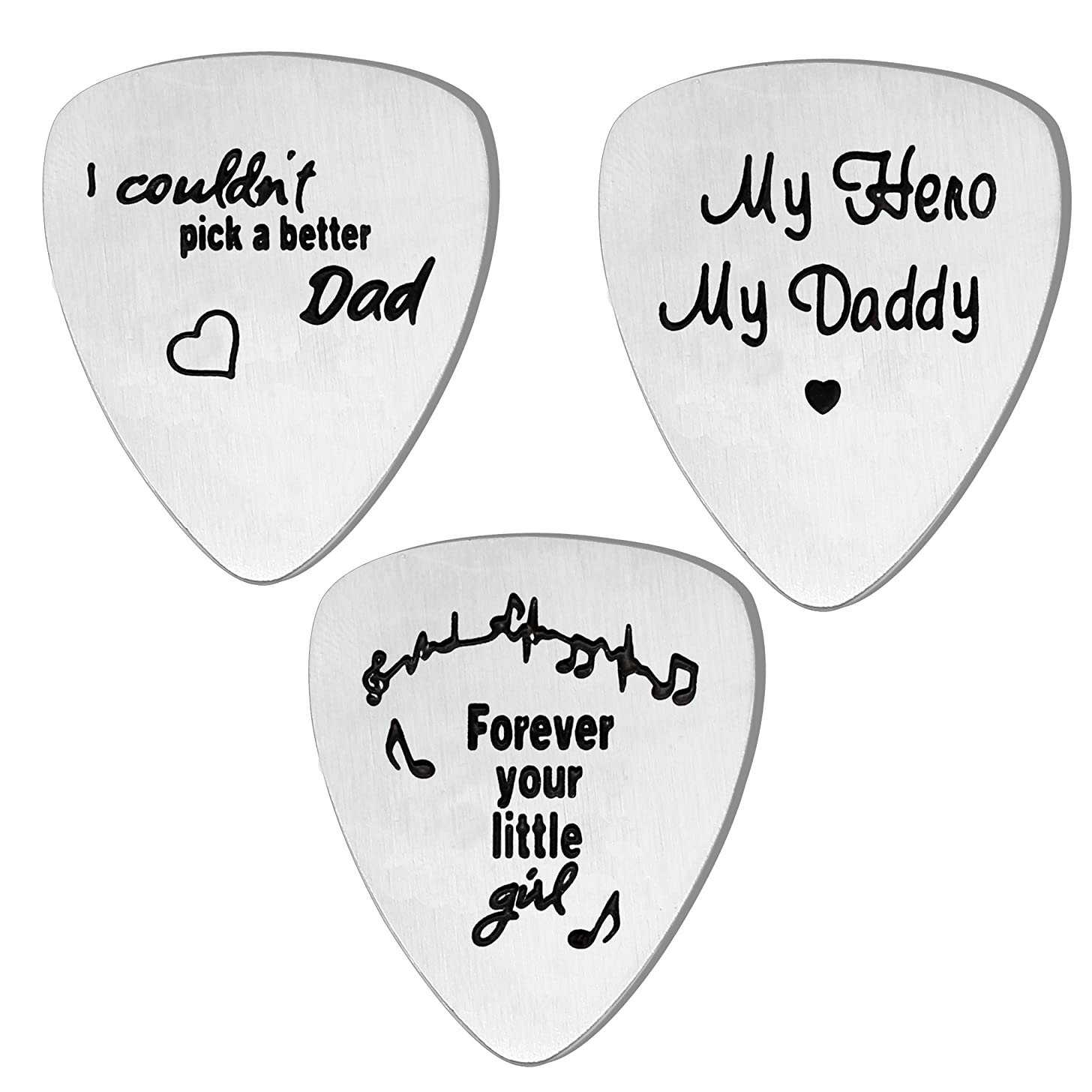 lauhonmin 3PCS Guitar Picks Set for Dad for Papa from Daughter Son Stainless Steel