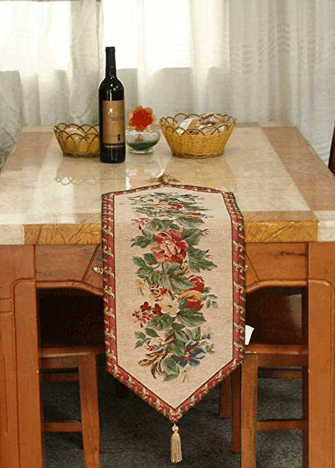 Amazon Com Tache Floral Red Table Runner Yuletide Blooms Bordered With Tassel Red And Beige Tapestry Woven Kitchen Coffee Dining Table Linen With Tassels 13 X 67 Inch Home Kitchen