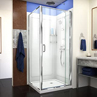 DreamLine Flex 36 in. D x 36 in. W x 76 3/4 in. H Pivot Shower Enclosure in Chrome with Corner Drain White Base and Backwall Kit, DL-6717-01CL