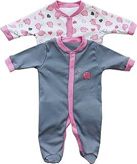 fd63b1cd4e Baby Schlafanzug/Schlafstrampler im Doppelpack mit niedlichen Druckmotiven  in verschiedenen Designs für Jungen und Mädchen