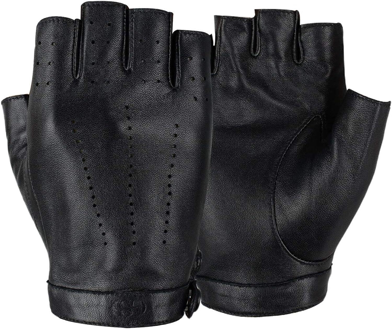 GSG Women Driving Gloves Fingerless Leather Gloves Motorcycle Biker Gloves Unlined Half Finger