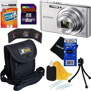 Sony Cyber-Shot DSC-W830 20.1 MP Digital Camera with 8X Optical Zoom & Full HD 720p Video Silver - International Version (No Warranty) + 7pc 8GB Accessory Kit w/HeroFiber? Gentle Cleaning Cloth