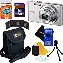Sony Cyber-shot DSC-W830 20.1 MP Digital Camera with 8x Optical Zoom & Full HD 720p Video, Silver - International Version (No Warranty) + 7pc 8GB Accessory Kit w/ HeroFiber Gentle Cleaning Cloth