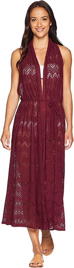 Vince Camuto Summer Lattice Geo Lace Wrap Midi Cover-Up Dress
