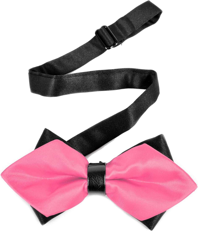 Men's Hot Pink Solid Diamond Tip Bow Tie - DBB3030-41