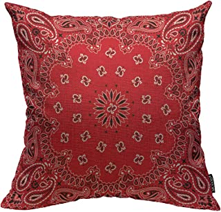 Mugod Western Paisley Throw Pillow Cover Bandana Seamless Pattern with Red and White..