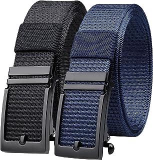 حزام الجولف، حزمة من 2 أحزمة بسقاطة من النايلون، أحزمة رجالي قابلة للتعديل كاجوال مع مشبك منزلق تلقائي