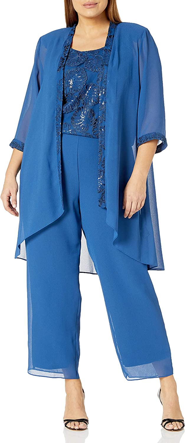 Le Bos Women's Emrboidered Top Long Jacket Pant Set