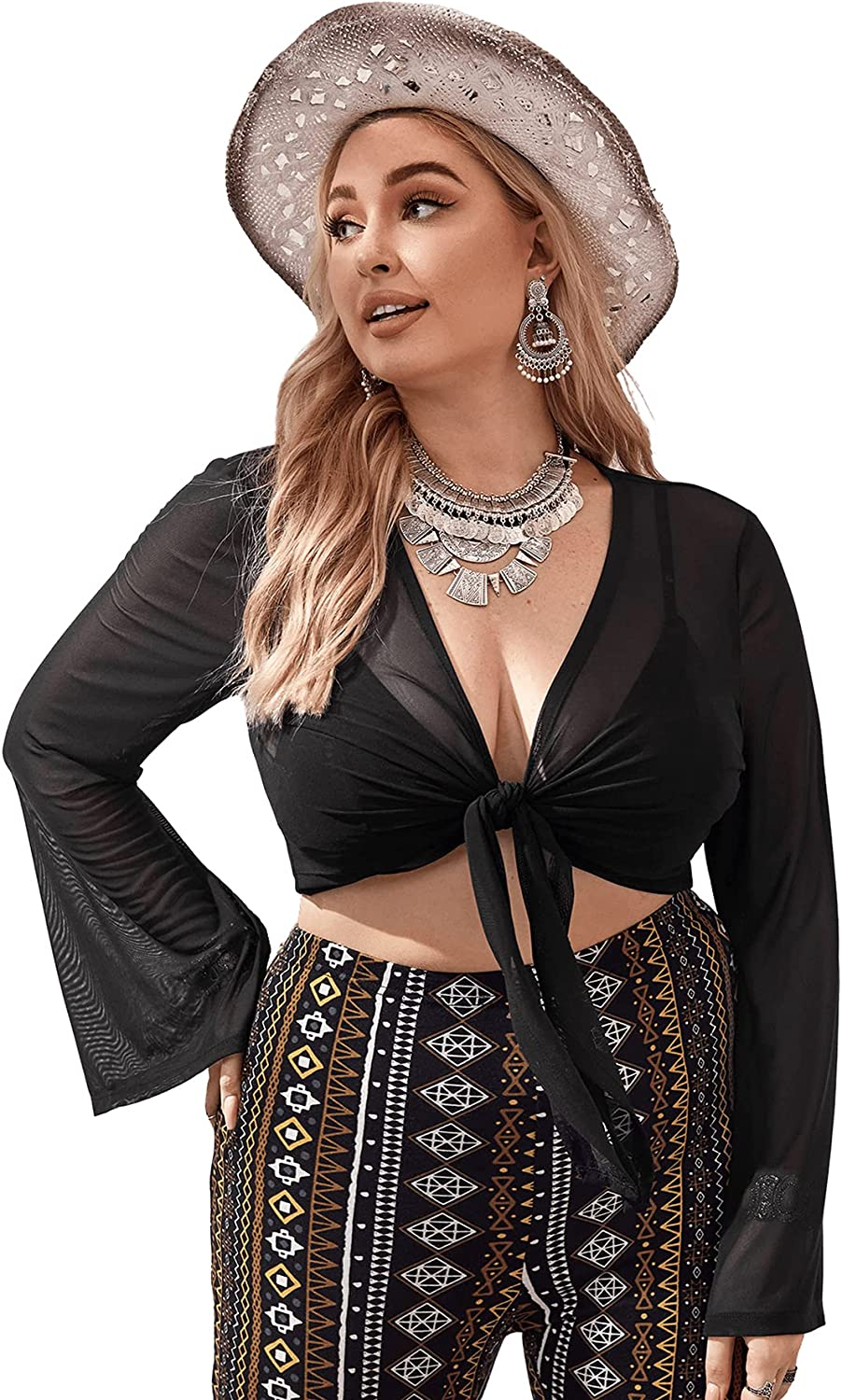 Romwe Women's Plus Size See Through Mesh Long Sleeve Knot Front Crop Kimono Cover Ups