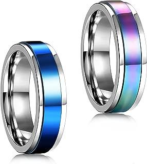 2 Pcs 6-8MM Stainless Steel Spinner Rings for Men Women Promise Ring,Size 5-13