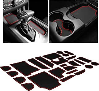 CupHolderHero for Dodge Charger Accessories 2015-2020 Premium Custom Interior Non-Slip Anti Dust Cup Holder Inserts, Center Console Liner Mats, Door Pocket Liners 24-pc Set (Red Trim)