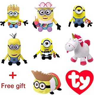 TY Beanie Babies Regular Plush - Minions (Despicable Me 3) Jerry, Carl, Dave, Mel, Tim and Fluffy - SET of 6 ,FREE GIFT WHIT PURCHASE (Teeny ty of minions ) - By ADD&SHIP