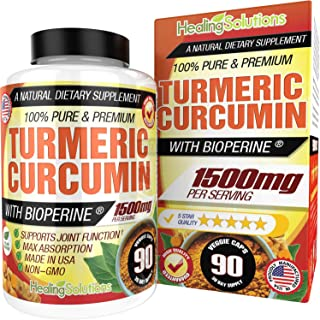 Turmeric Curcumin with Bioperine 1500mg (90 Capsules) Maximum Potency Pain Relief & Joint Support Supplement 95% Standardi...