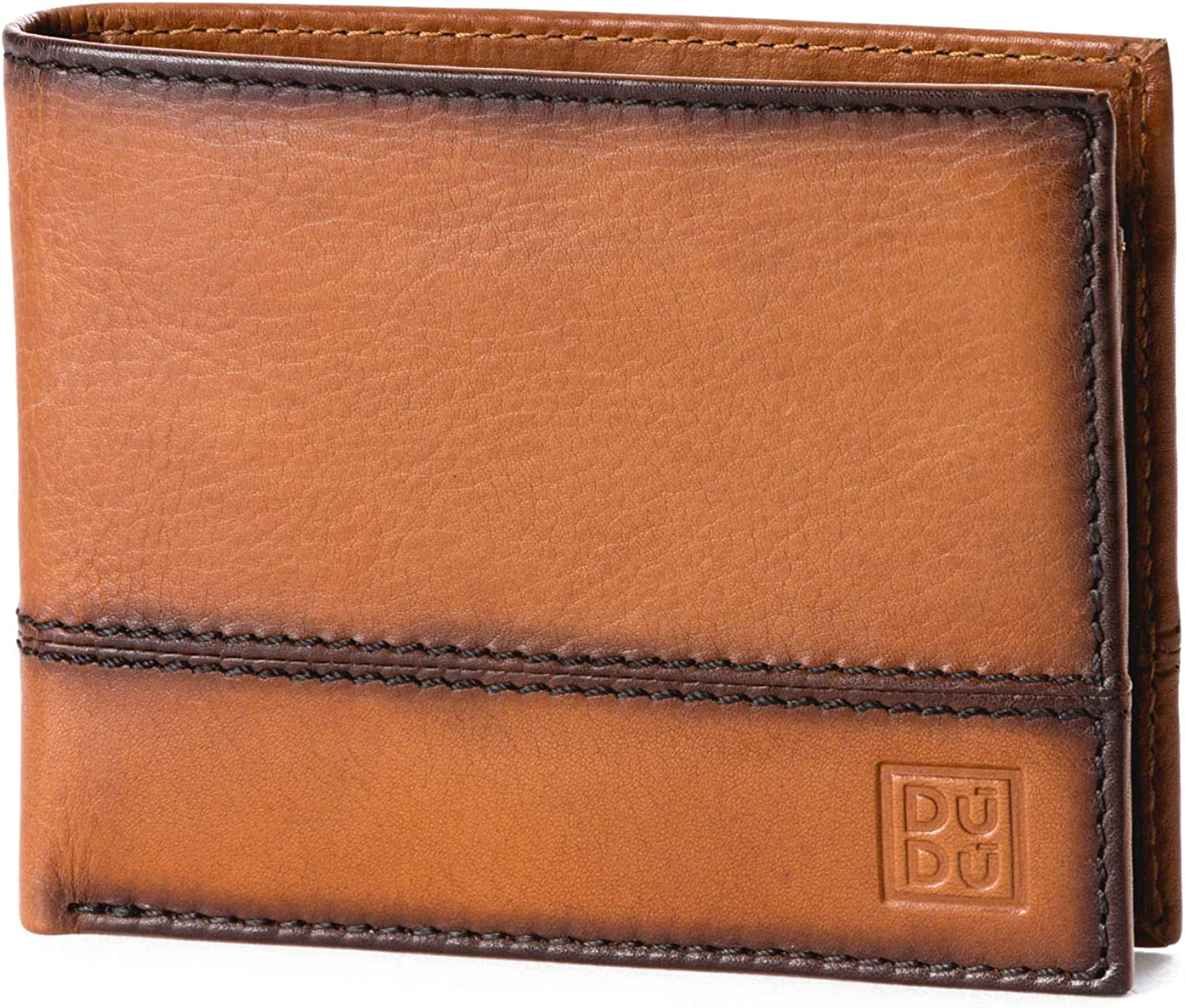Leather Wallet with Coin Pocket and Credit Card Holder & ID Window DUDU Light Brown