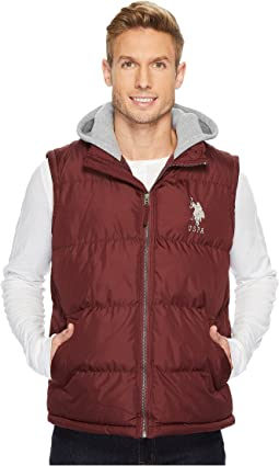 Basic Puffer Vest with Fleece Hood