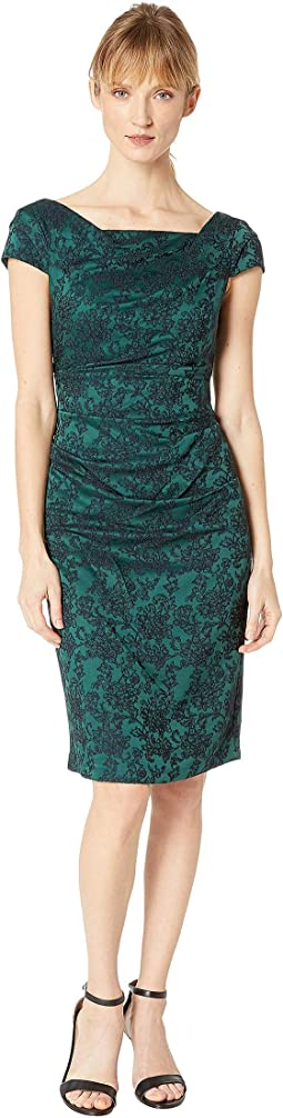 Evely Jacquard Sheath Dress w/ Cowl Neckline