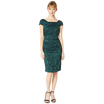 Adrianna Papell Evely Jacquard Sheath Dress w/ Cowl Neckline (Hunter Navy) Women