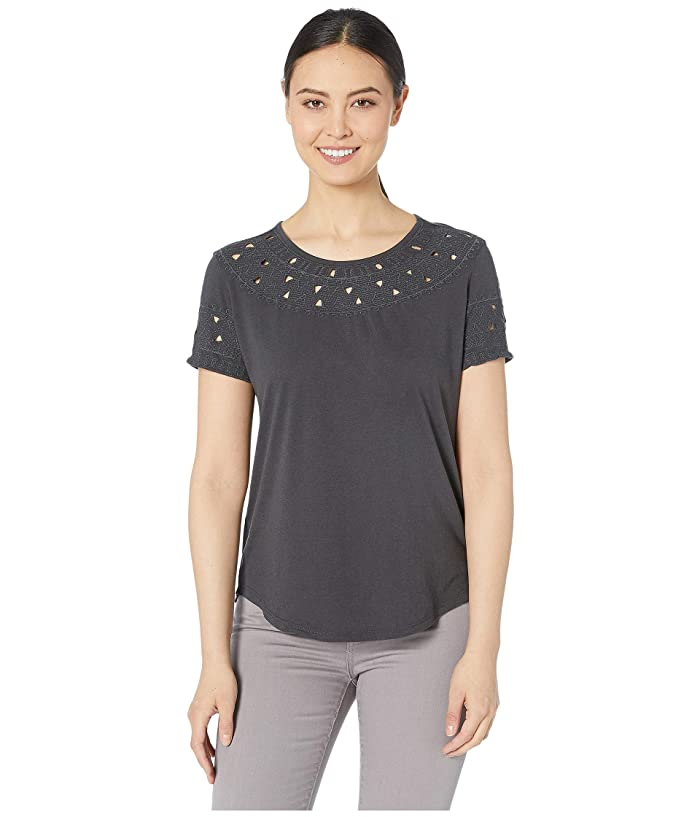 Lucky Brand  Embroidered Cutout Top (Washed Black) Womens Clothing