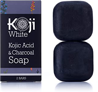 Kojic Acid & Charcoal Black Soap (2.82 oz / 2 Bars) - Skin Brightening & Smoothing for Scar Removal, Dark Spots, Acne, Eczema, Blemishes