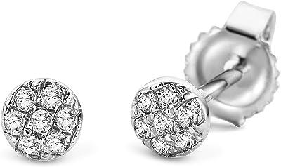 Miore Bijoux pour Femmes Boucles d'Oreilles avec 14 Diamants Pavés 0.05 Ct Clous d'Oreilles en Or Blanc 9 Carats / 375 Or