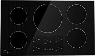 Empava 36 Inch Electric Stove Induction Cooktop with 5 Power Boost Burners Smooth Surface Vitro Ceramic Glass in Black 240V
