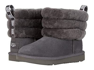 UGG Kids Fluff Mini Quilted (Toddler/Little Kid) (Charcoal) Girl
