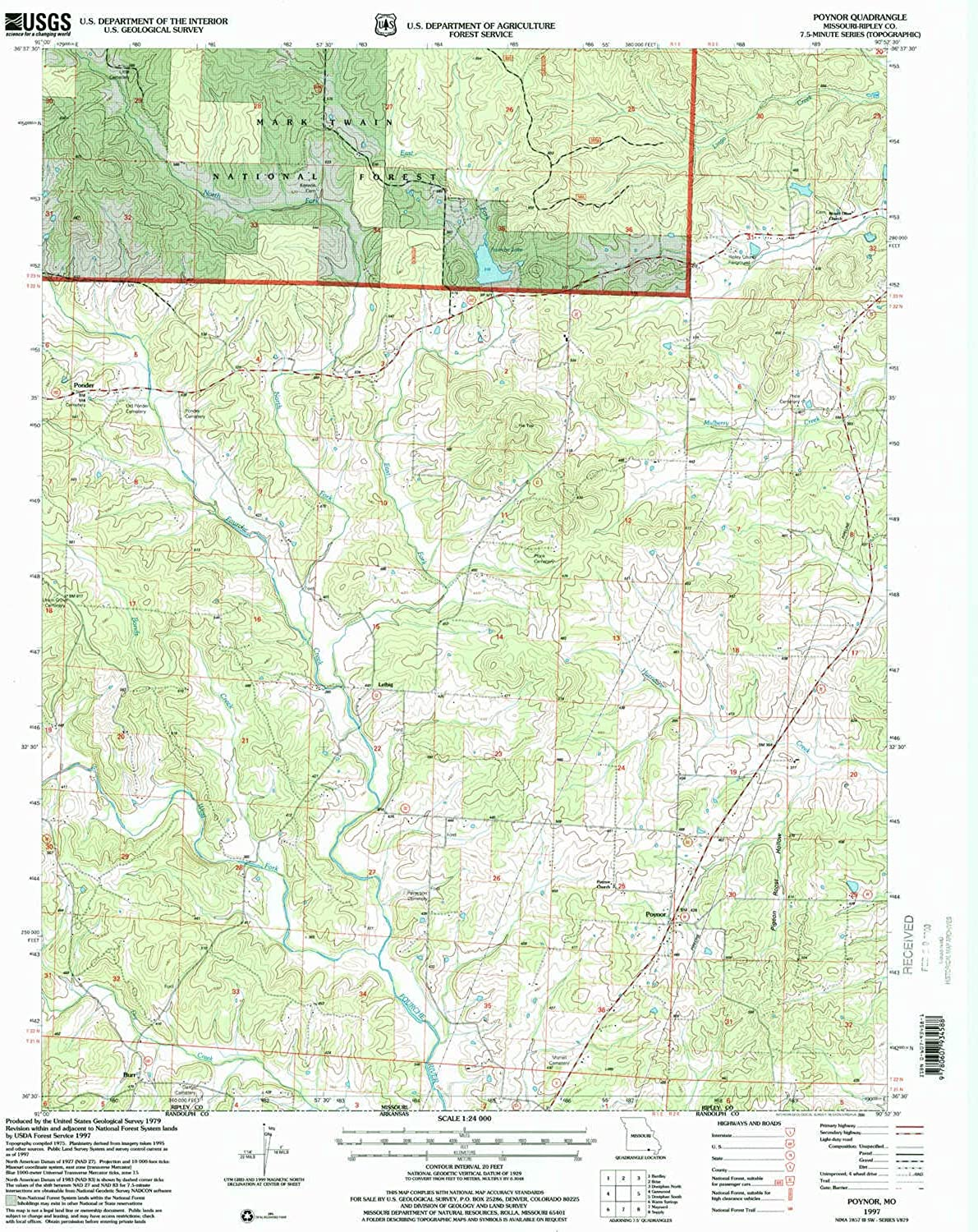 Poynor MO topo map, 1 24000 Scale, 7.5 X 7.5 Minute, Historical, 1997, Updated 2000, 26.8 x 21.9 in