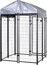 PawHut Outdoor Galvanized Metal Dog Kennel Playpen with UV and Water Resistant Tarp Cover, 50 inch