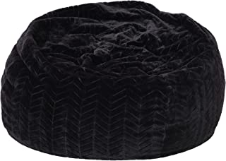 Heavy Metal Inc Meridian Bean Bag Plush Faux Fur Chair | Comfortable and Fun Beanbag for The Whole Family| Non-Spill Memory Foam Filling (Black)