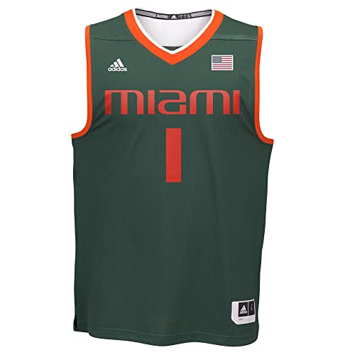 20a751159d7 adidas Miami Hurricanes NCAA 1 Green Replica Basketball Jersey