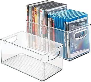 mDesign caisse de rangement (lot de 2) – rangement CD, jeux vidéo avec poignée – rangement DVD en plastique – transparent