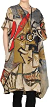 Mordenmiss Women's Summer Abstract Printing Baggy Dress with Pockets