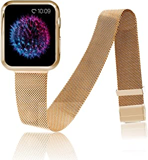 Hterepi Compatible with Apple Watch Band with Protective Case 38mm 40mm 42mm 44mm, Colorful Stainless Steel Sport Wristband with Soft Case Cover Compatible for iWatch Series 5/4/3/2/1