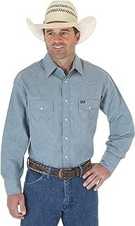 Men's Cowboy Cut Western Two Pocket Long Sleeve Snap Work Shirt-Firm Finish